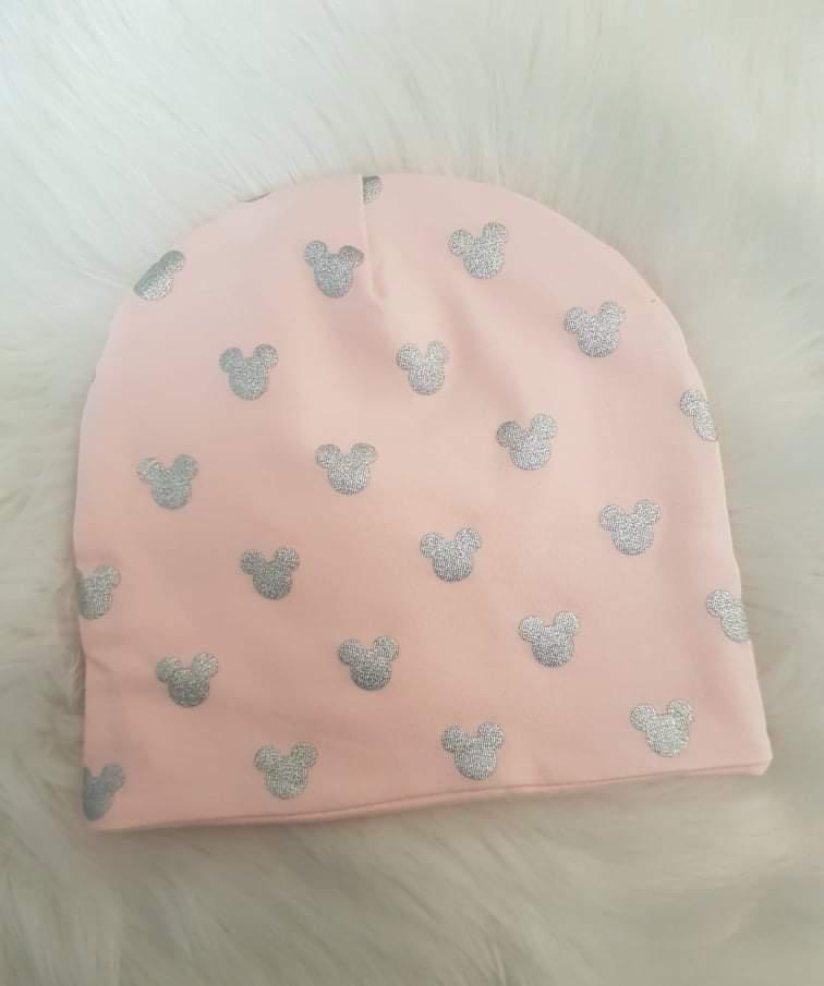 Handmade prechodná čiapka dvojvrstvová - Minnie hlavičky, veľkosť 32-34