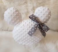 Handmade Mickey vankúšik minky biely so sivou mašľou