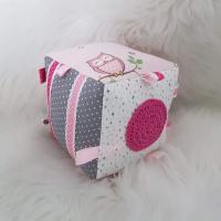 Handmade textilná kocka ružová